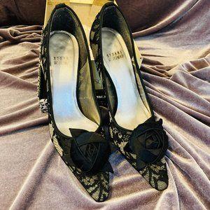 Stuart Weitzman Black Lace Heels w/Satin Bow